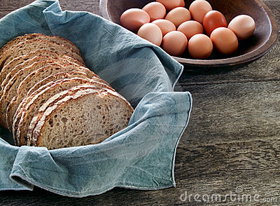 Fresh whole wheat bread and eggs
