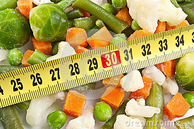 Fresh wholesome vegetables and measuring tape