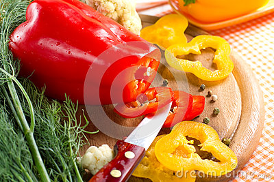 Fresh yellow and red pepper