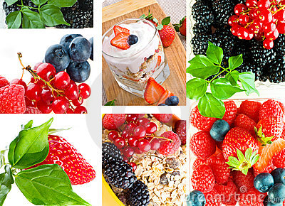 Fresh yoghurt with fruit and berry