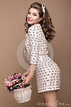 Free Fresh Young Girl, Light Silk Dress, Smile, Retro Curls Pin-up Style With Basket Of Flowers. Beauty Face , Body. Royalty Free Stock Photos - 79636308