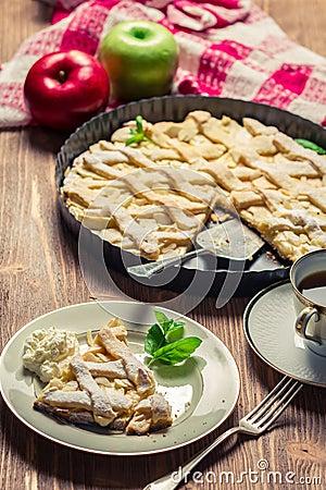 Freshly baked apple pie served