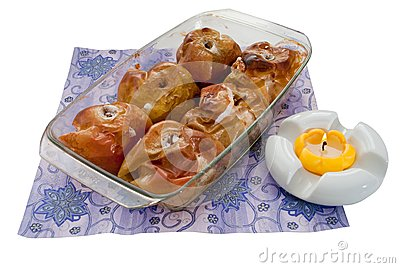 Freshly baked apples in a tray