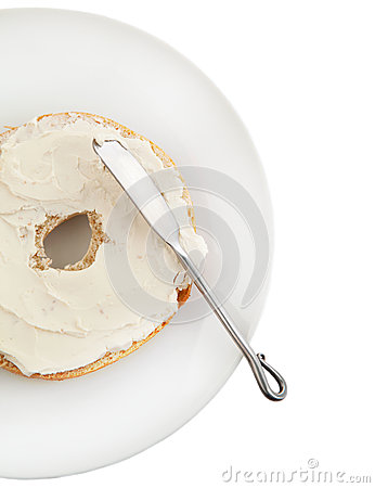 Free Freshly Baked Bagel With Cream Cheese For Breakfast Royalty Free Stock Images - 30474909