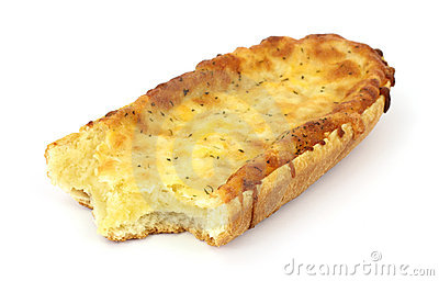Freshly baked bitten French bread cheese pizza