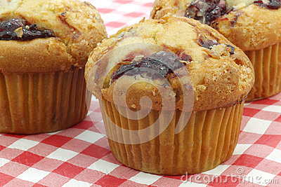 Freshly baked cherry muffins