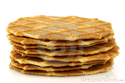 Freshly baked stacked Dutch waffles