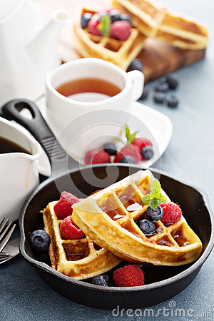 Free Freshly Baked Waffles With Berries For Breakfast Stock Photography - 66177522