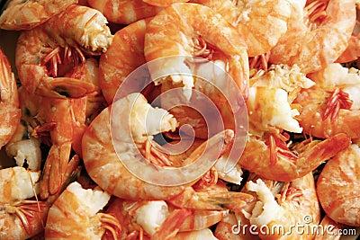 Freshly cooked peeled prawns
