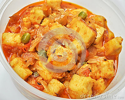 Freshly cooked spicy Paneer