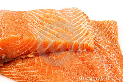 Freshly cut salmon fillets