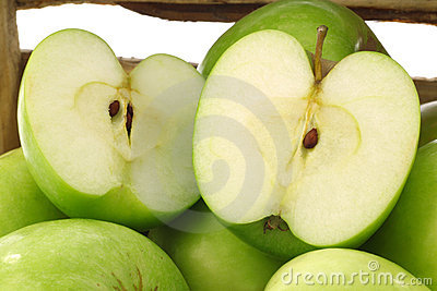 Freshly harvested Granny Smith apples