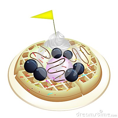 Tradition Waffle with Blueberries and Ice Cream