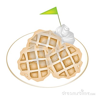 Three Baked Waffles with Icing and Whipped Cream