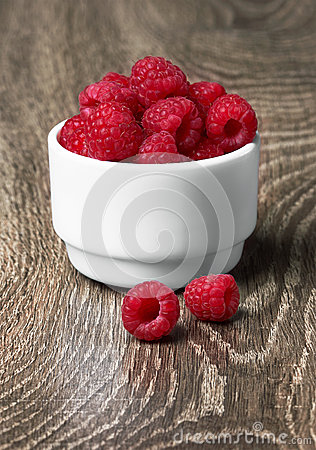 Freshly picked ripe red raspberries