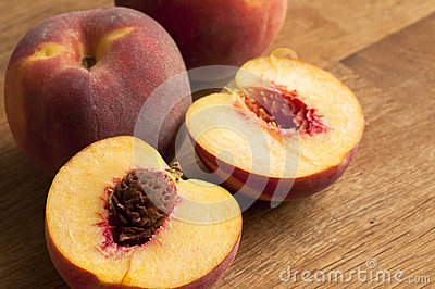 Freshly sliced peaches