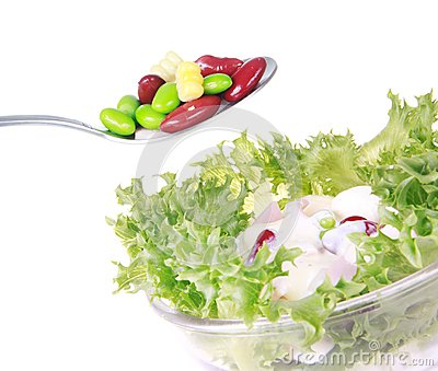 Freshness lettuce bean and corn salad isolated