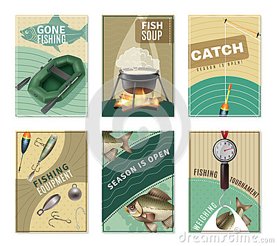 Free Freshwater Fishing 6 Posters Prints Collection Royalty Free Stock Images - 84978139