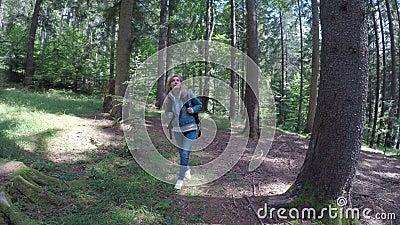 Freundliche junge Frau Eco, die allein in Waldbewundern Natur am sonnigen Tag geht - stock video footage