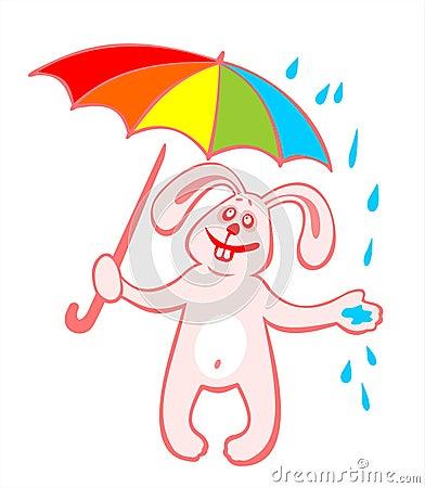 Freundliches Kaninchen und Regenschirm