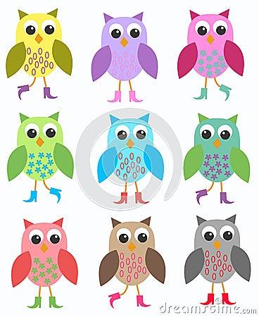 Färgglada owls