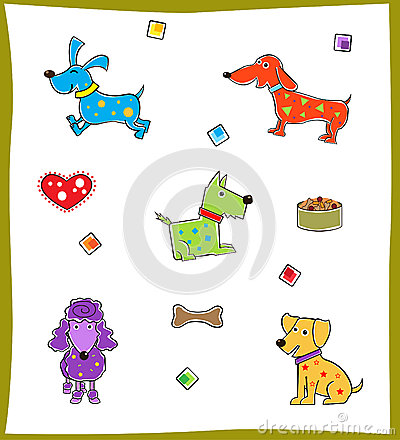 Färgrik hundkapplöpning