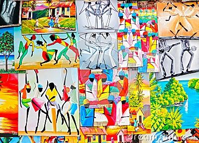 Färgrik karibisk jamaikansk konst Redaktionell Foto