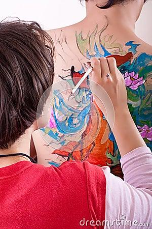 Färgrik målning för huvuddel