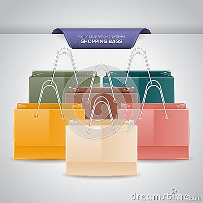 Färgrik shopping hänger lös