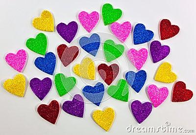 Färgrika skumhjärtaformer