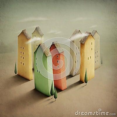 Färgrikt litet för stad