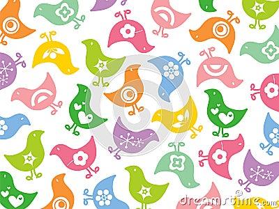 Färgrikt roligt retro för fågelungar