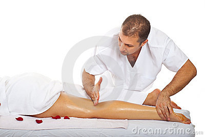 Friction massage to woman s leg