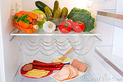 Fridge full of healthy food