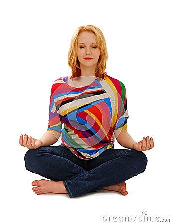Fridsam kvinna för meditation