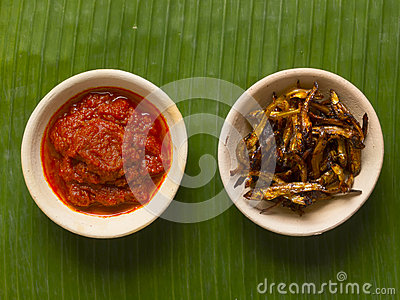 Fried anchovies and sambal chili