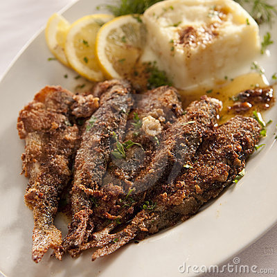 Fried baltic herrings