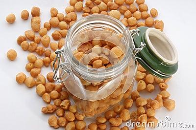 Fried batter pearls in a jar