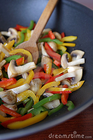 Fried bell peppers and mushrooms