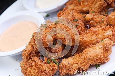 Fried, breaded chicken strips