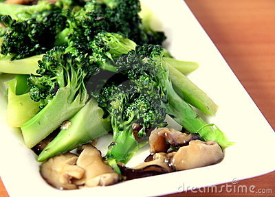 Fried broccoli with mushroom