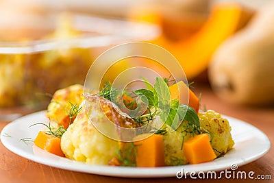 Fried cauliflower with a pumpkin
