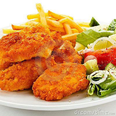 Free Fried Chicken Nuggets And Vegetables Royalty Free Stock Images - 20880919