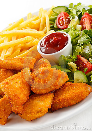 Free Fried Chicken Nuggets And Vegetables Stock Photography - 23022542