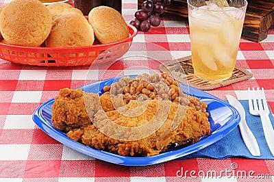 Fried chicken picnic dinner