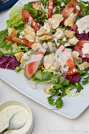 Free Fried Chicken Salad Stock Image - 33116641