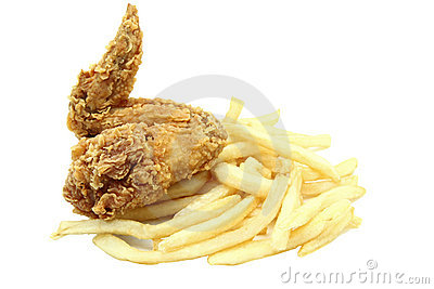 Fried chicken wing with french fries
