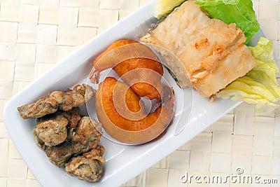Fried Cob, Battered Artichoke and Prawn Tail