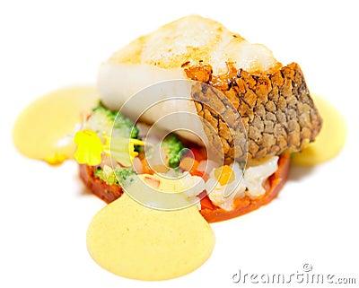 Fried cod fillet