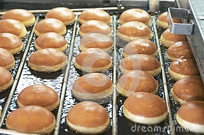 Fried Donuts On Conveyor